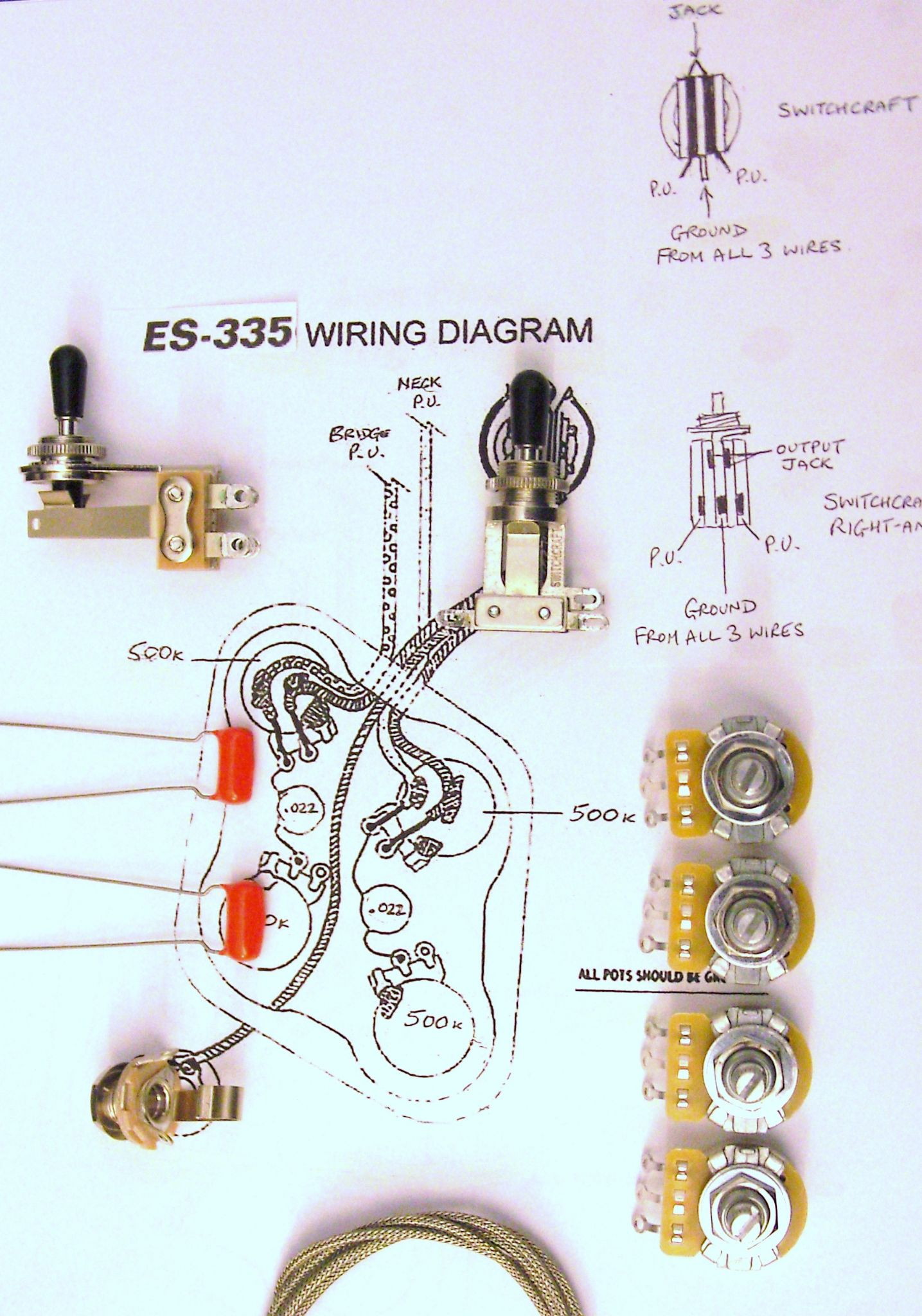 3 Way Toggle Guitar Switch Wiring Diagram Library 4 Wire Kit For 335 With Right Angle Switchcraft Diagrams 2 Humbucker