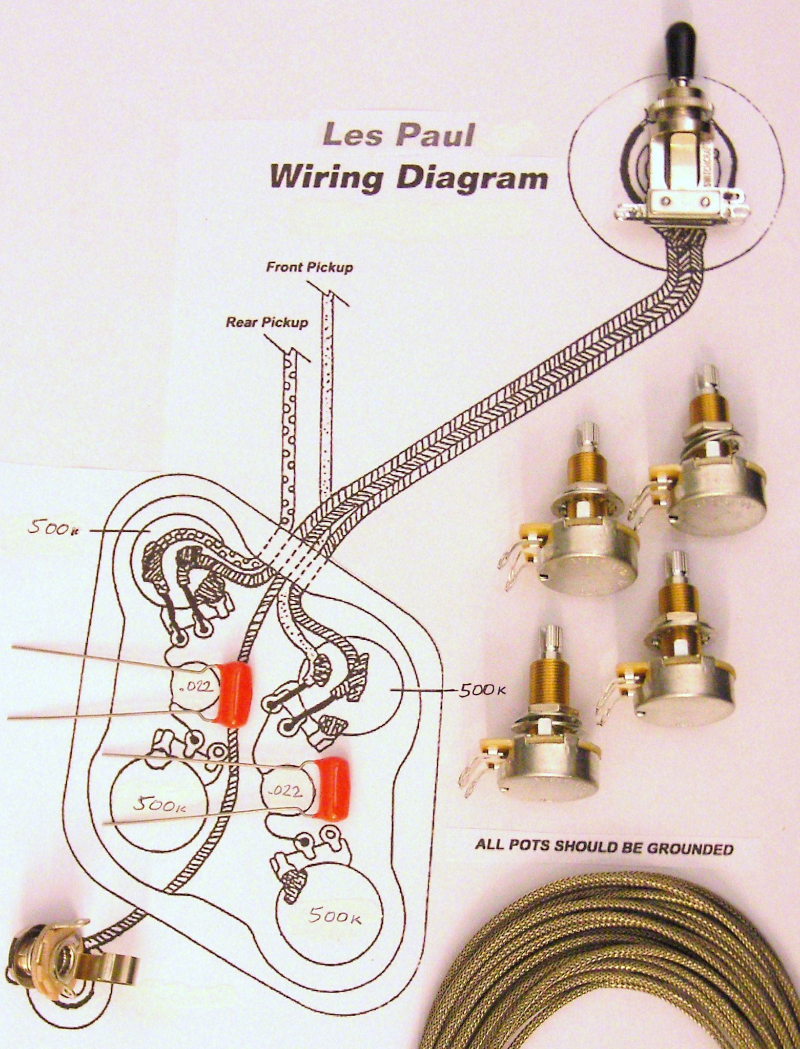 59 Les Paul Wiring Diagram Best Library Gibson Custom Kit For Requiring Long Shaft Pots 1950 S Epiphone