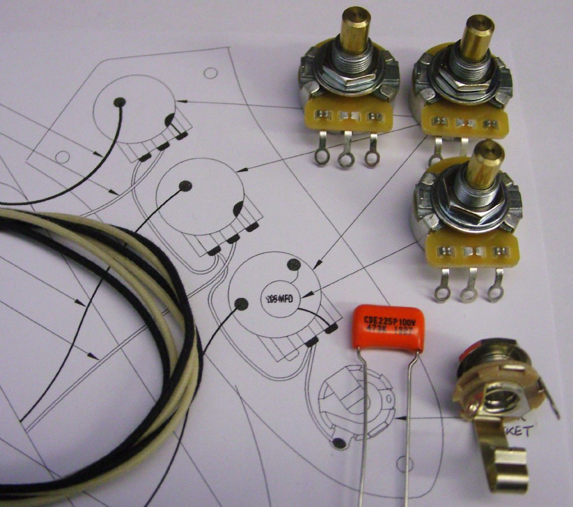 Wiring Kit For Jazz Bass With Solid Shaft Pots