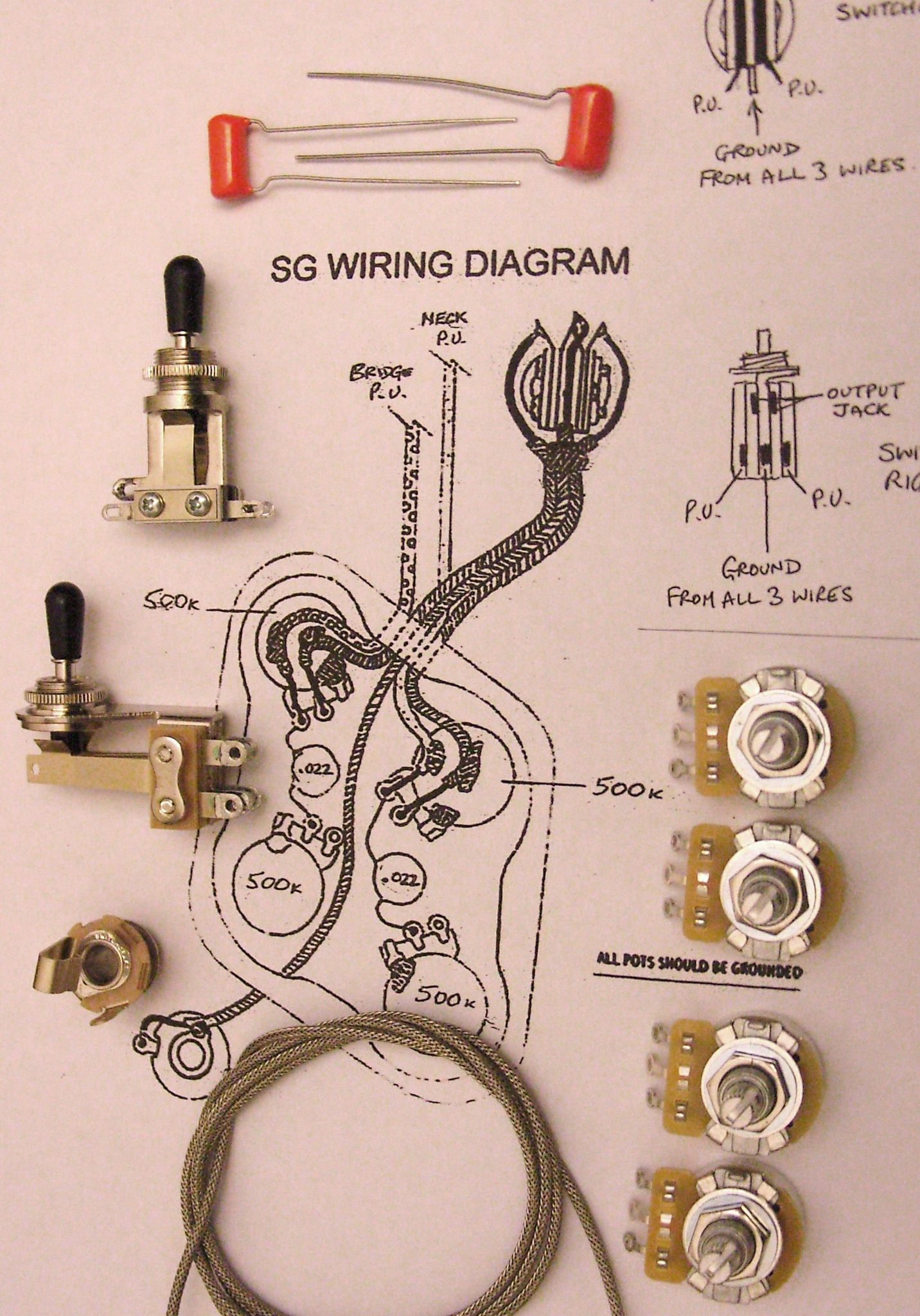 Sg Guitar Wiring Harness Kit For With Right Angle Switchcraft Toggle Switch