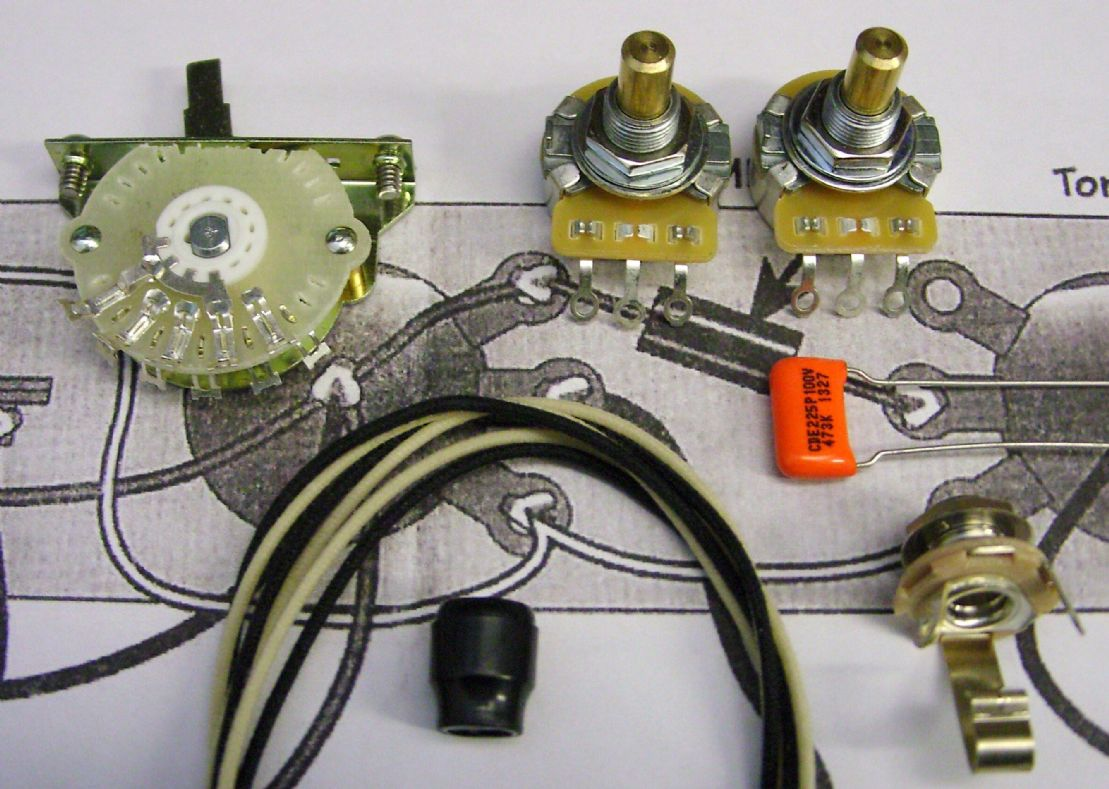 Wiring Kit For Tele 4 Way Mod With Solid Shaft Pots